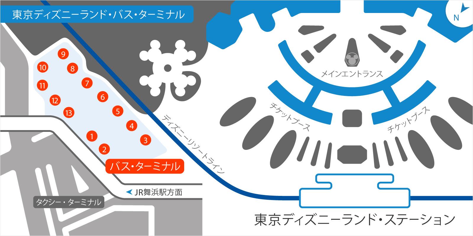 東京ディズニーランドバスのりばの地図