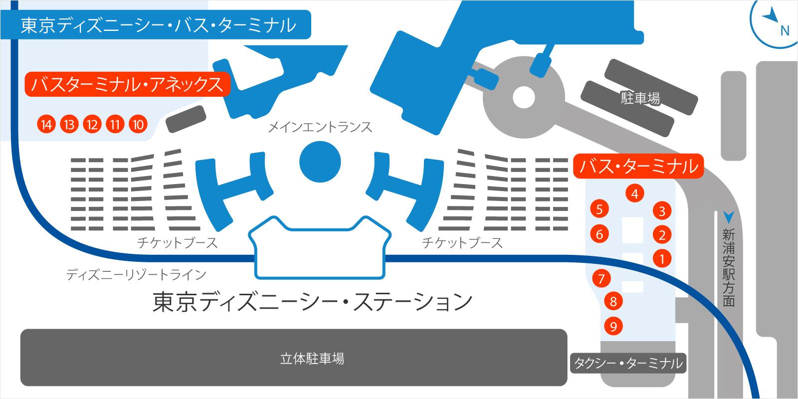 東京ディズニーシーバスのりばの地図