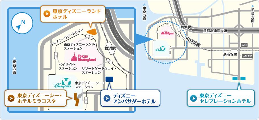 ディズニーホテルの地図画像