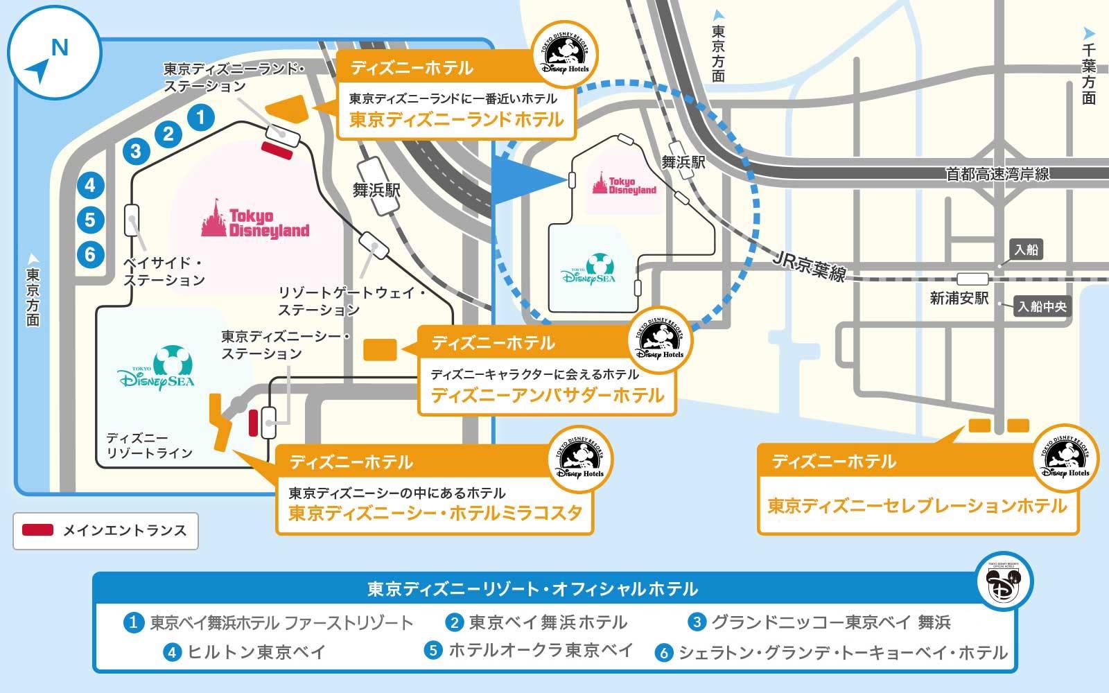 東京ディズニーリゾート内のホテルのマップ画像