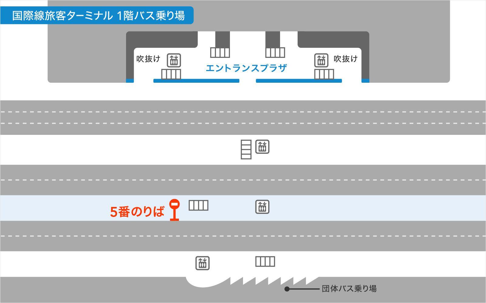 羽田空港国際線ターミナルバス乗り場の画像