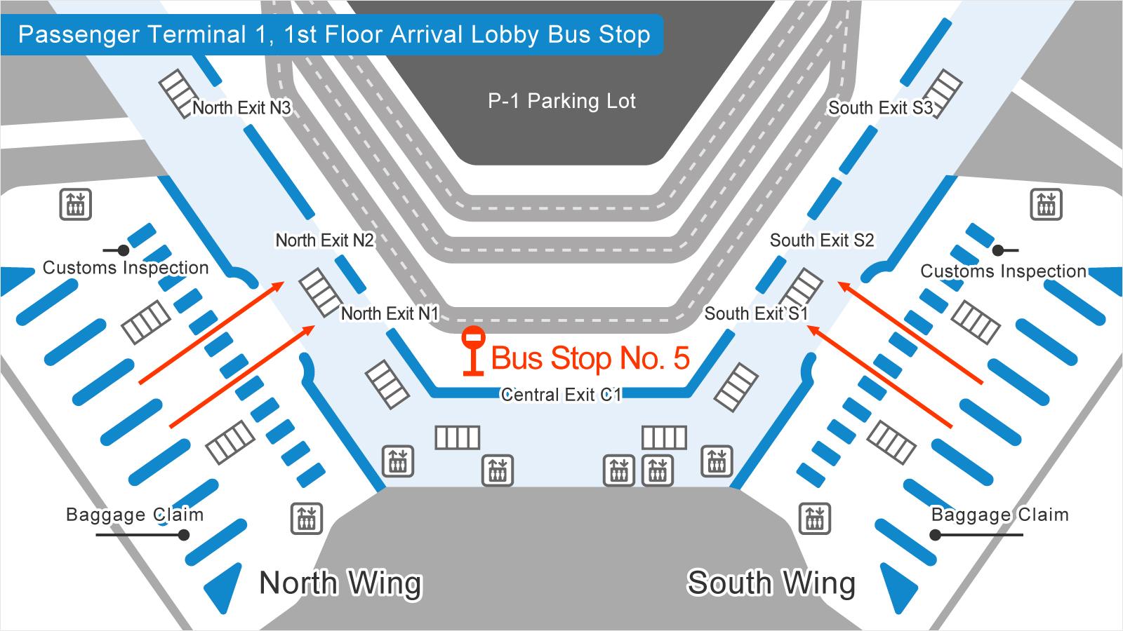成田空港第1旅客ターミナルバス乗り場の画像