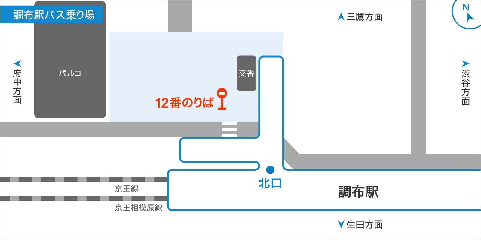 調布駅バス乗り場の画像