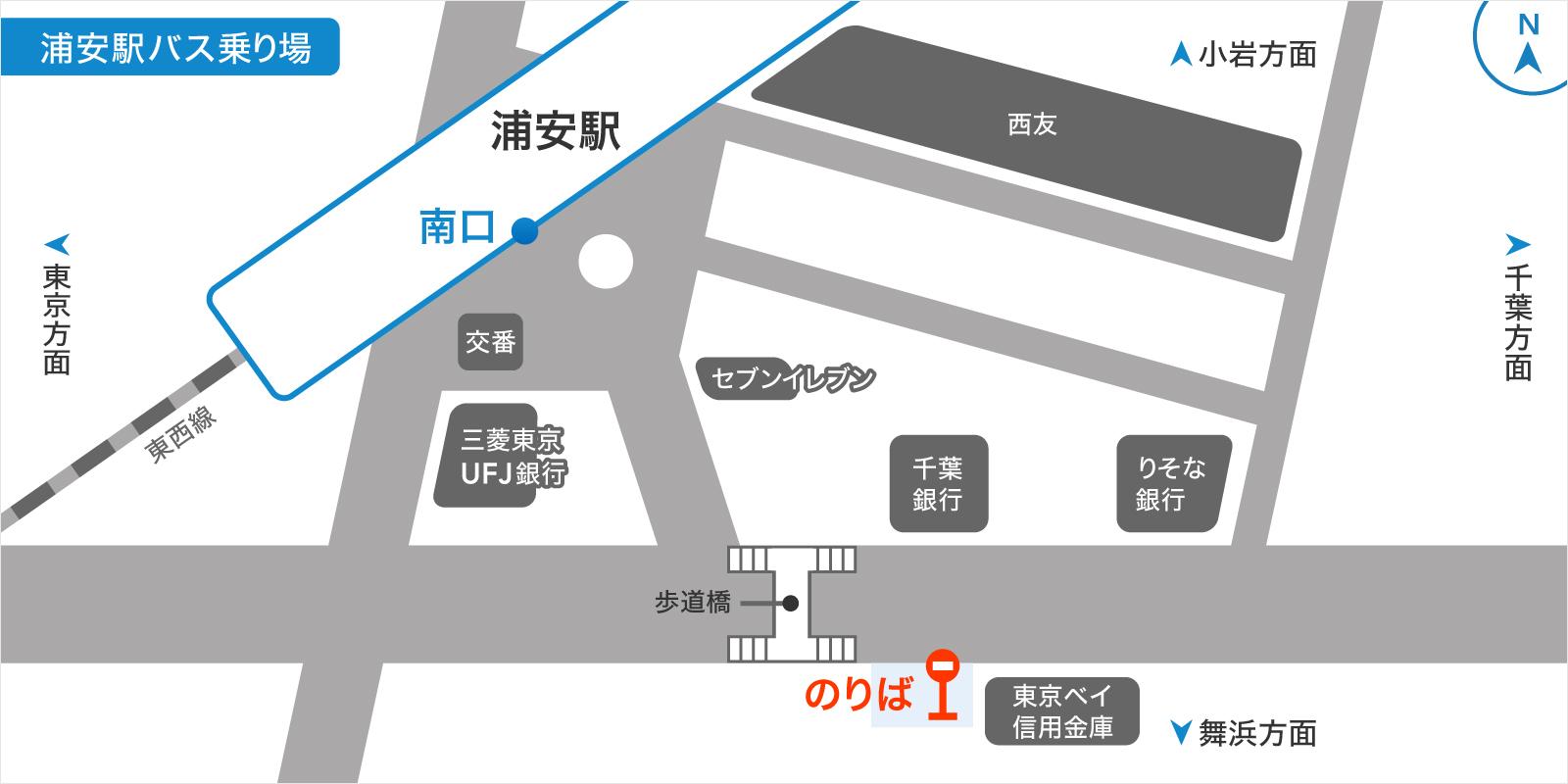 浦安駅バスのりばの地図