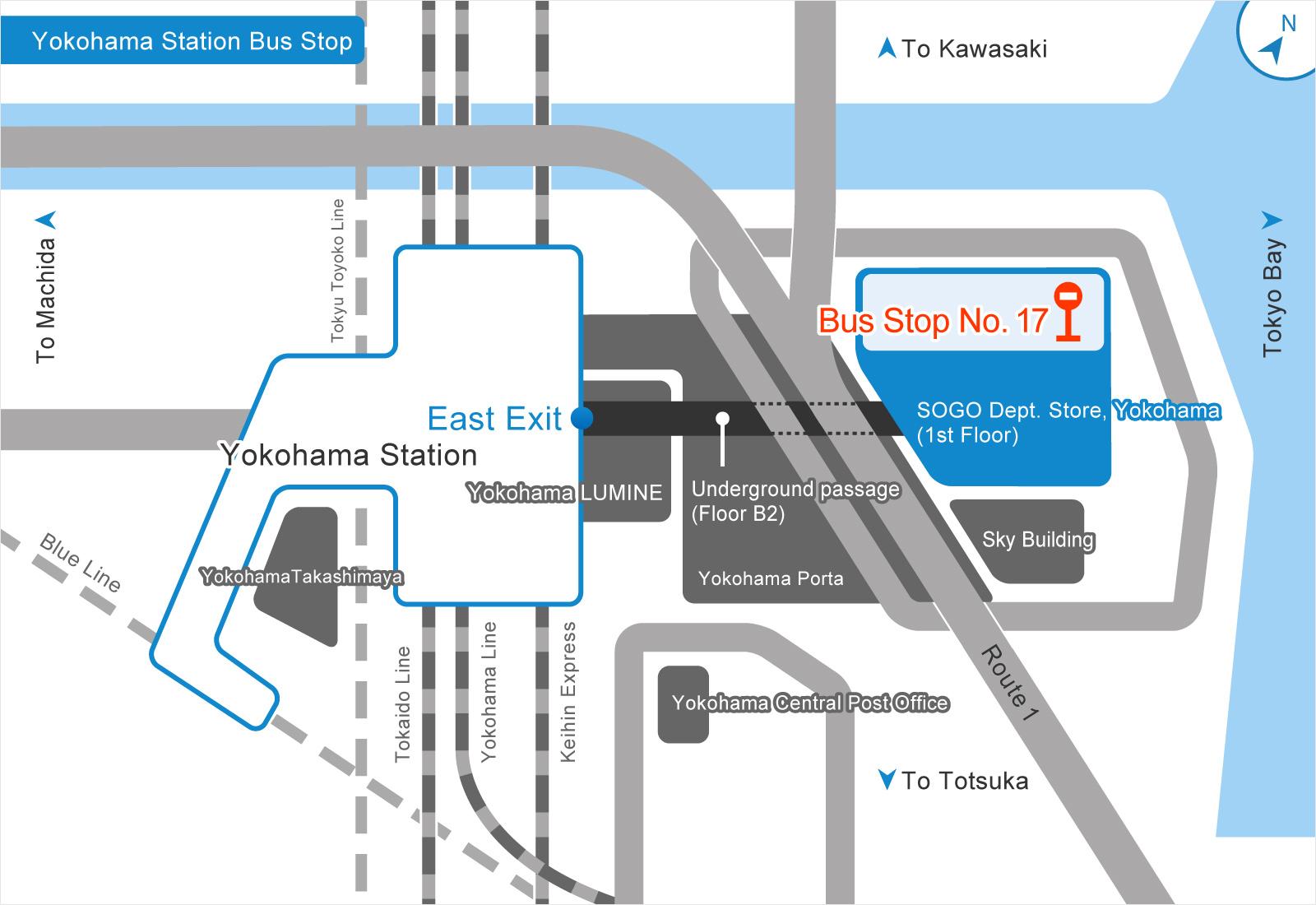 横浜駅バス乗り場の画像