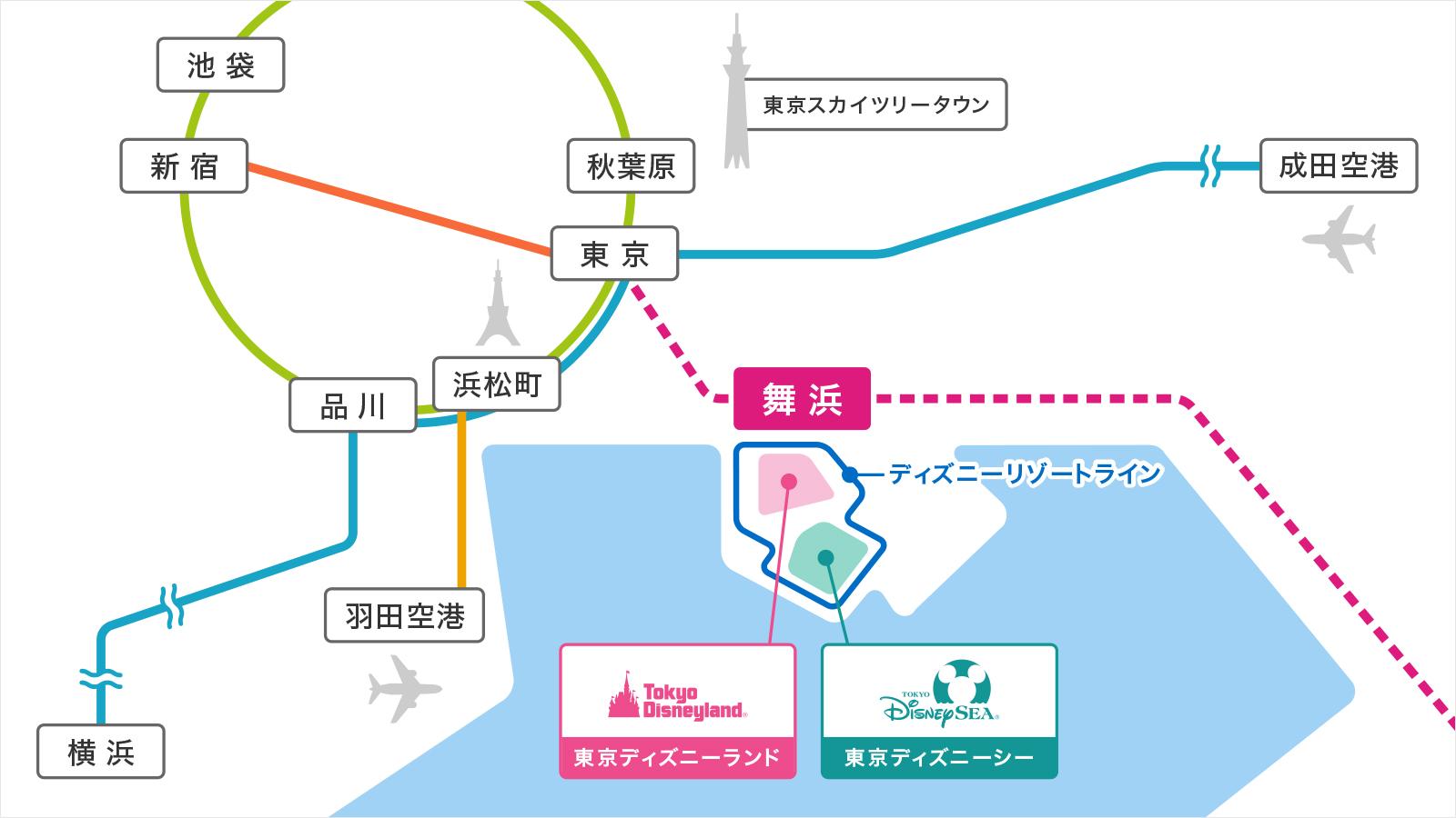 東京地域でのパークの位置が分かる地図のイメージ