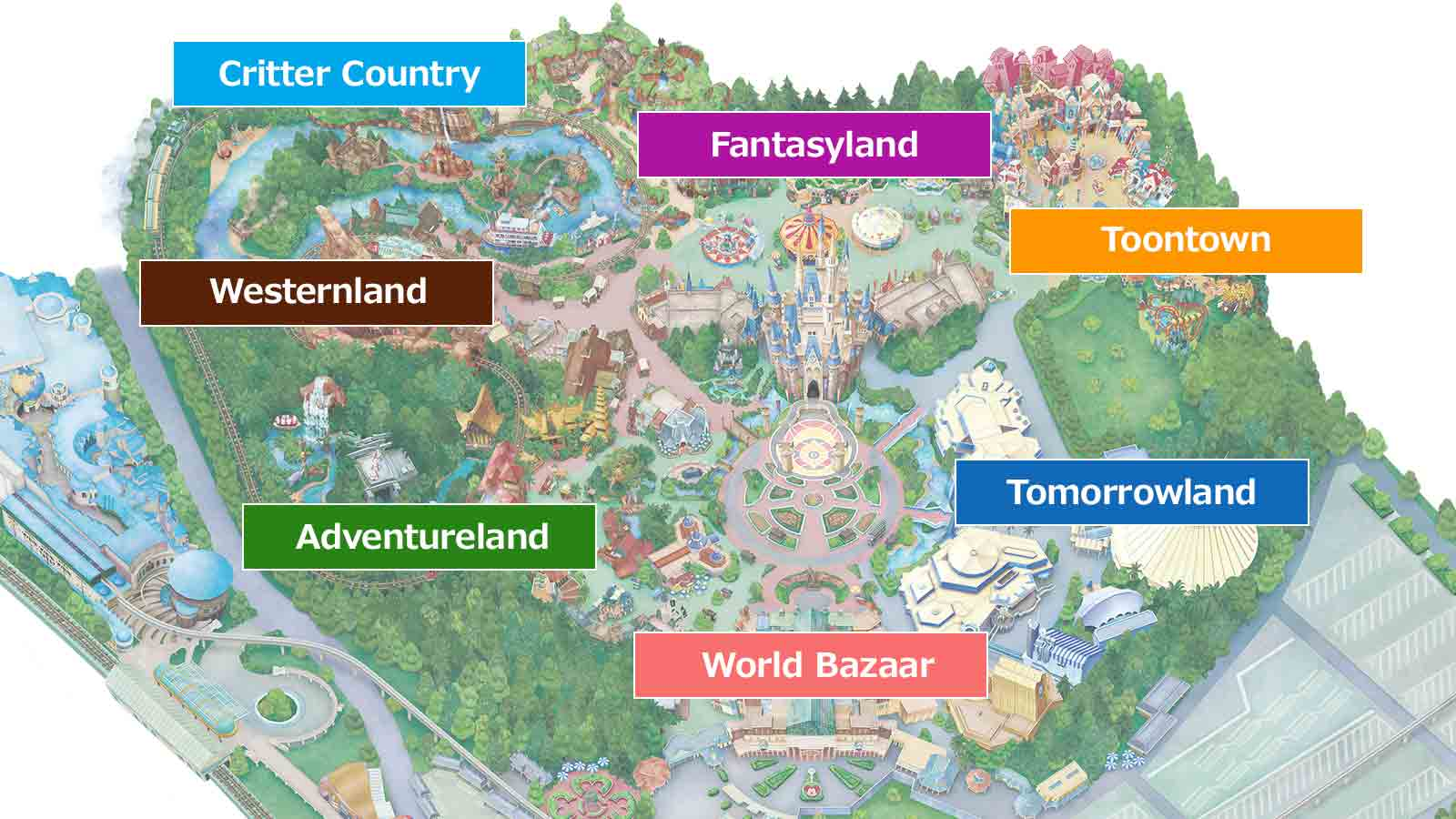 Disneyland Locations World Map.Official Map Tokyo Disneyland
