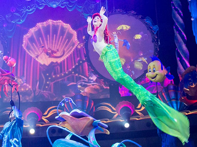 Attend a concert with Ariel under the sea Mermaid Lagoon Theater in Mermaid Lagoon