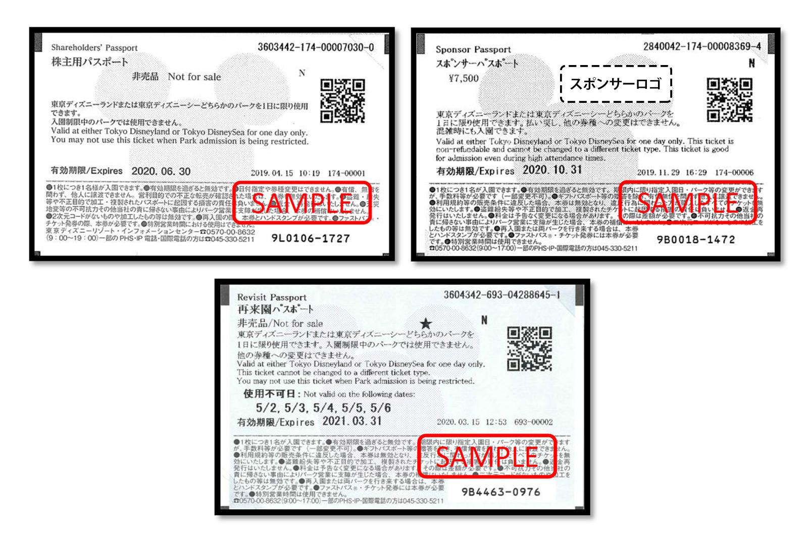 株主用パスポート、スポンサーパスポート、再来園パスポート