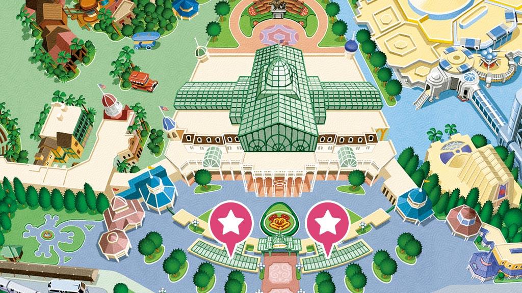東京ディズニーランドのパークチケット販売窓口の地図
