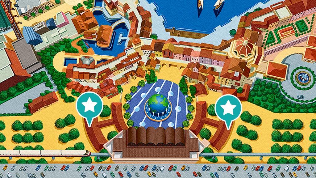 東京ディズニーシーのパークチケット販売窓口の地図