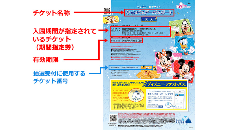 Park tickets with a fixed admission  period indicated (Fixed period tickets)